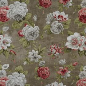 Darling - Fall - Dark brown 100% cotton fabric behind a realistic floral design featuring shaded red and grey flowers and green leaves