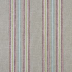 Tier - Perfume - Dusky pink, pale green, light blue and white stripes running vertically down pale grey coloured 100% cotton fabric