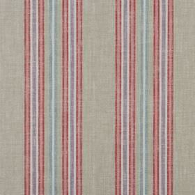 Tier - Pomegranate - 100% cotton fabric in light grey, patterned with thin vertical stripes in red, dusky pink, lavender and light blue