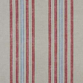 Tier - Coral - Striped fabric made entirely from grey, scarlet, pale blue and white coloured cotton