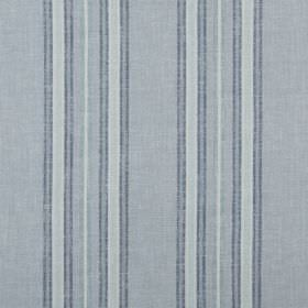 Tier - Seaside - Stripes in three different shades of blue running vertically down fabric made entirely from cotton