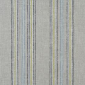 Tier - Starlight - Fabric made from dark grey, light grey, white, light green and light blue striped cotton