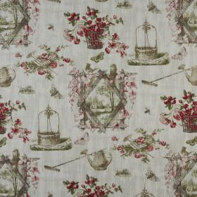Wishing - Autumn - Green-grey shaded designs of baskets, gardening tools and outdoor scenes with dark red flowers on grey 100% cotton fabric