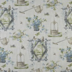 Wishing - Spring - 100% cotton fabric patterned with flowers, outdoor scenes and gardening tools in light shades of grey, green and blue