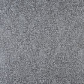 Cherish - Mineral - Very ornately, intricately patterned fabric made from 100% cotton in dark grey and white