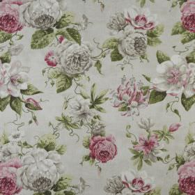 Darling - Blush - Realistic flowers shaded in greys and pinks, printed with green leaves on light grey fabric made entirely from cotton