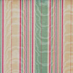 Kinross - Antique - A striped design in minty green, dark pink, cream and white on shimmering fabric