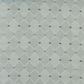 Dumfries - Lichen - Small blue and green squares printed on cotton fabric with a diamond pattern filled with blue-grey checks and stripes