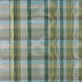 St Andrews - Pesto - Several different shades of green and blue making up the shimmering checked design on this fabric made from cotton