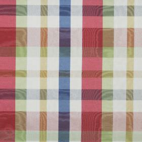 Aberdeen - Multi - Light green, Royal blue, red and white checked, shimmering fabric made from cotton