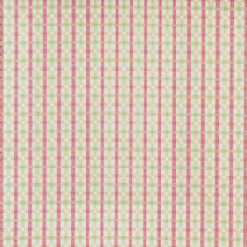 Wick - Primrose - Off-white cotton fabric printed with horizontal and vertical stripes in rose pink and light green