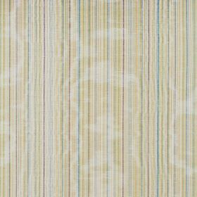 Fife - Celedon - Very narrow yellow, blue, green, grey and white stripes as a pattern for this cotton fabric which shimmers