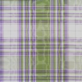 Selkirk - Lilac - Fabric made from cotton which shimmers, with a checked design in white, purple and grass green