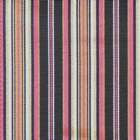 Dunbar - Gemstone - A repeated striped pattern of pink, black, white, gold and beige on cotton fabric
