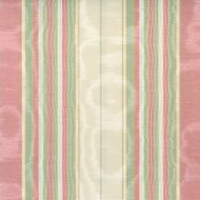 Lomond - Chintz - Cotton fabric featuring a striped design in shimmering light green, salmon pink and cream