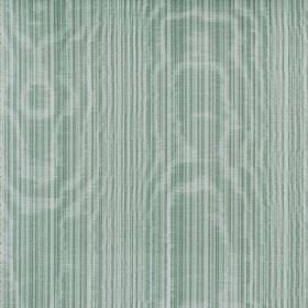 Fife - Azure - Shimmering cotton fabric covered in very narrow, vertical stripes in minty green-blue and white