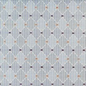 Dumfries - Duck Egg - Cotton fabric printed with blue and white checked and striped diamonds and small squares in dark blue and brown-gold