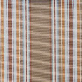 Perth - Duck Egg - Horizontally ridged cotton fabric with a vertical stripe design in white, browns, gold and light blue