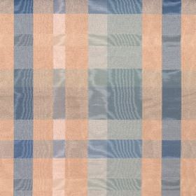 Aberdeen - Mineral - Shimmering cotton fabric featuring a checked design in blue, off-white and peach colours