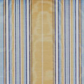 Kinross - Marine - Shimmering fabric with a striped design in white, gold, cobalt blue and Royal blue