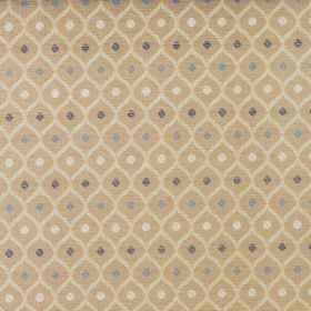 Peterhead - Caramel - Small gold, cream, white, dark blue and light blue shapes printed repeatedly on fabric made from cotton