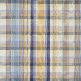 St Andrews - Tartan - Shimmering fabric made from cotton, covered in light blue, dark blue, yellow, gold and off-white checks