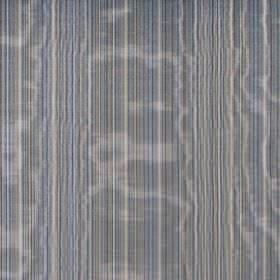 Fife - Marine - Shimmering striped cotton fabric with narrow vertical bands in dark shades of blue and grey