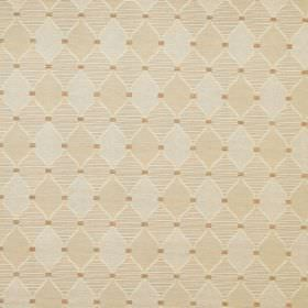 Inverness - Beige - Small diamonds filled with plain and patterned beige and grey colours, printed with small brown squares on cotton fabric
