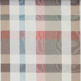 Aberdeen - Pastel - Cotton fabric with a shimmering grey, blue, red and white checked pattern