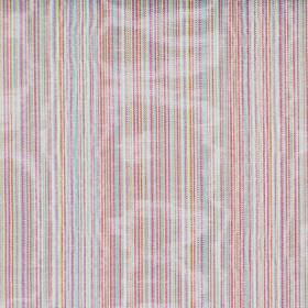 Fife - Multi - Multicoloured shimmering cotton fabric with a bright pattern of narrow stripes
