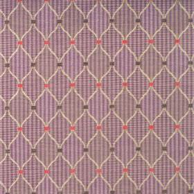 Dumfries - Mulberry - A pattern of beige diamonds with small red and black squares on cotton fabric with checks and stripes in purple colour