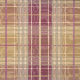 Stirling - Mulberry - A design of gold, purple and light grey checks on shimmering cotton fabric