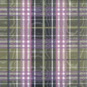 Stirling - Blueberry - Shimmering cotton fabric featuring a checked design in dark shades of green and purple, with a little white