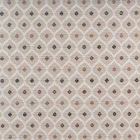 Peterhead - Cappucino - Cotton fabric covered in a repeated, small, geometric type pattern in beige, brown, black and white
