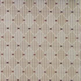 Dumfries - Latte - Checks and stripes in shades of grey and beige filling diamond shapes on cotton fabric, with small dark coloured squares