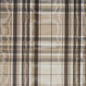 Selkirk - Cappucino - Brown, black and cream checked cotton fabric which shimmers