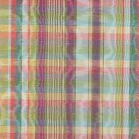 St Andrews - Spice - Purple, green, light yellow, turquoise and red checked fabric made from shimmering cotton