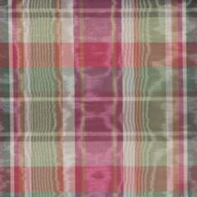 Clyde - Jewel - Checks in dark pink, green, gold and white on a shimmering cotton fabric