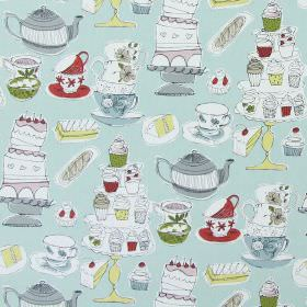 Afternoon Tea - Duck Egg - Light blue cotton fabric printed with hand drawn images of cakes, cake stands, cupcakes and teacups