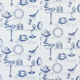 On The Shelf - Porcelain - Off-white cotton fabric with navy blue shelves, birds and kitchen items such as salt cellars, teacups, teapots and