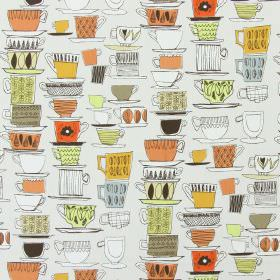 Cups And Saucers - Tango - Hand drawn saucers, teacups and mugs printed in shades of orange, cream, blue and green on off-white cotton fabri