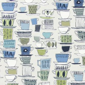 Cups And Saucers - Porcelain - Off-white cotton fabric printed with stacks of hand drawn teacups, saucers and mugs in white & shades of blue