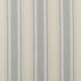 Bowmore - Pebble - Two pale shades of cream and two shades of grey making up a regular striped design on 100% polyester fabric