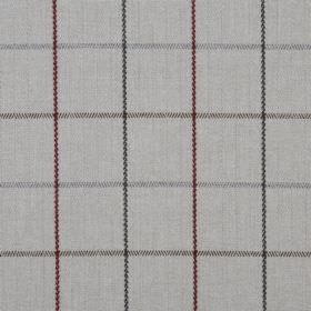 Brodie - Slate - Dark shades of red, green, grey and brown making up the lines for a simple checked pattern on grey 100% polyester fabric