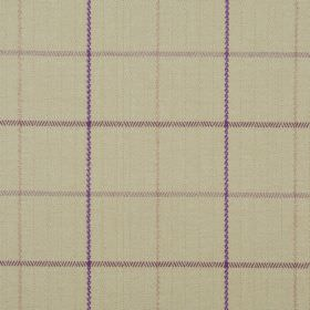 Brodie - Thistle - Cream-brown 100% polyester fabric covered with purple, brown and light orange lines making a simple checked pattern