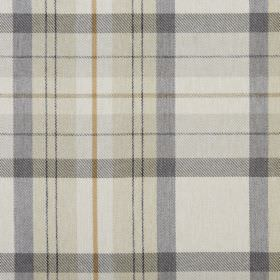 Cairngorm - Oatmeal - Beige, grey, off-white and honey coloured checked fabric made from 100% polyester