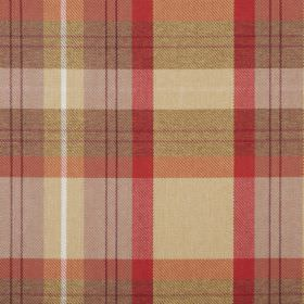 Cairngorm - Cardinal - 100% polyester fabric made in warm shades including red, gold and honey, arranged in a checked design