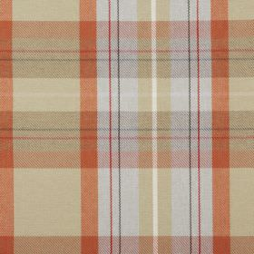 Cairngorm - Auburn - Checked 100% polyester fabric featuring colours such as orange, straw, grey, white and red