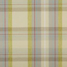 Cairngorm - Moss - Fabric made from lime green, beige, light grey, light blue and red checked 100% polyester