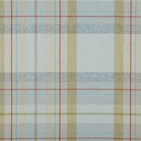 Cairngorm - Duck Egg - 100% polyester fabric covered with a checked design in light shades of blue, green and beige